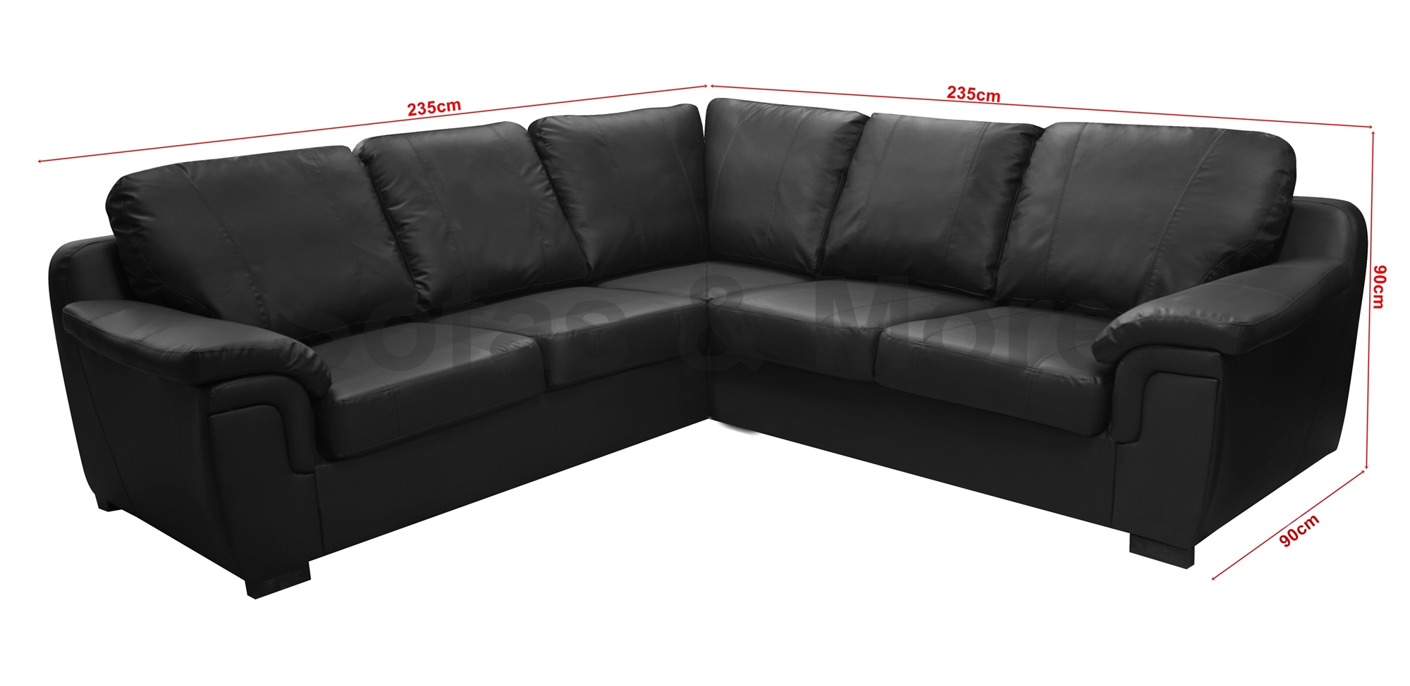 AMY CORNER SOFA BLACK FAUX LEATHER LIVING ROOM SUITE FAST ...