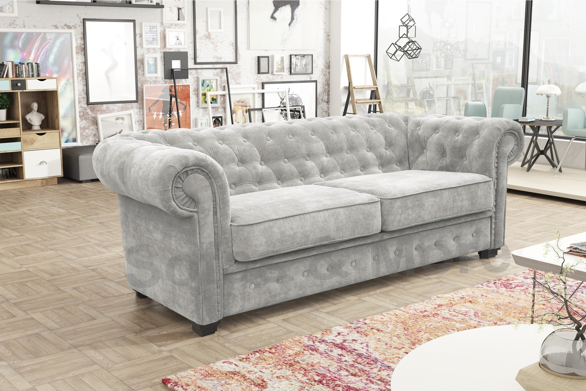 venus chesterfield style 3 seater sofa bed armchair fabric grey cream brown ebay. Black Bedroom Furniture Sets. Home Design Ideas