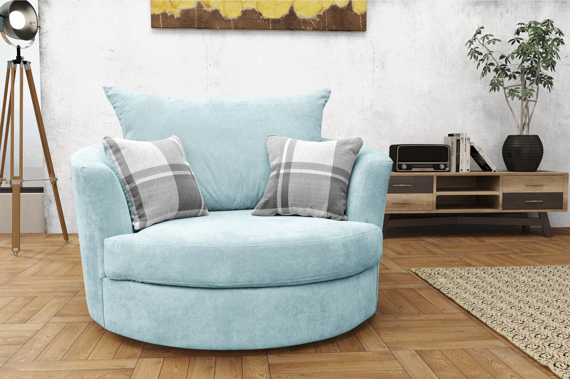 Large swivel round cuddle chair fabric grey cream brown living room settee ebay for Fabric swivel armchairs for living room
