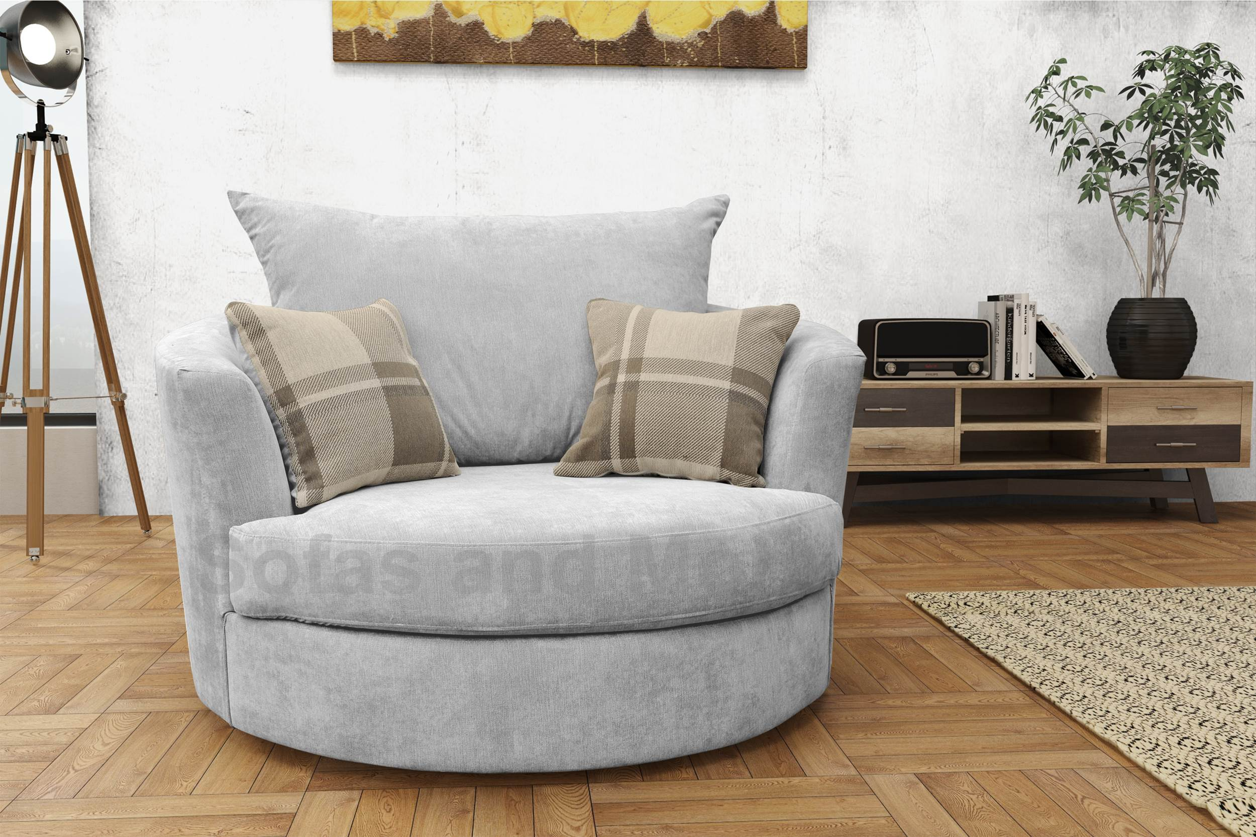 Large Swivel Round Cuddle Chair Fabric Grey Cream Brown Living Room Settee Ebay